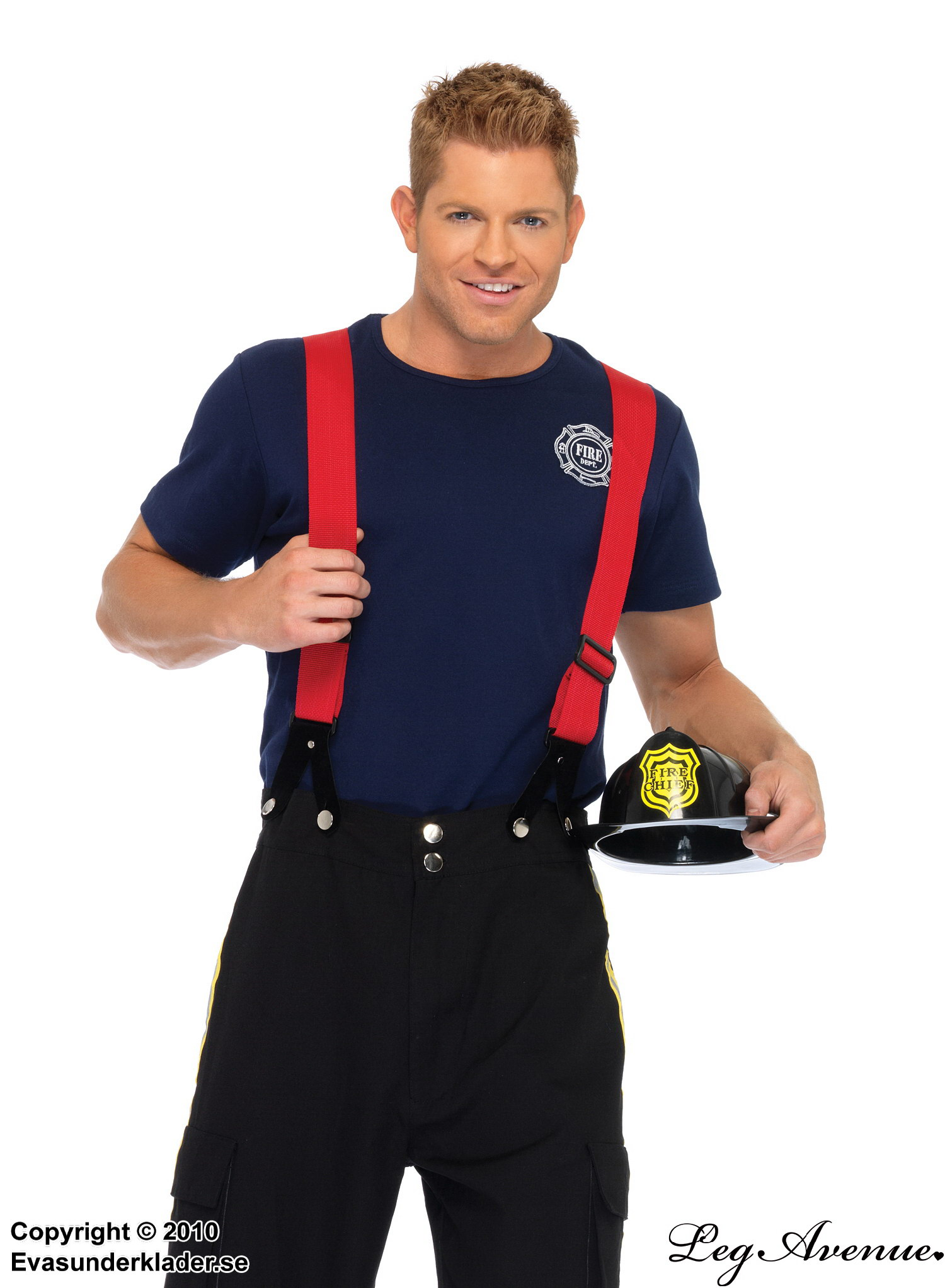Fire fighter, t-shirt and pants costume, suspenders